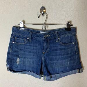Paige Distressed Cuffed Denim Jean Shorts